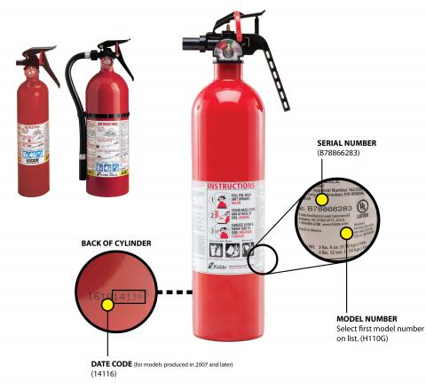A picture of Kidde plastic handle fire extinguishers.