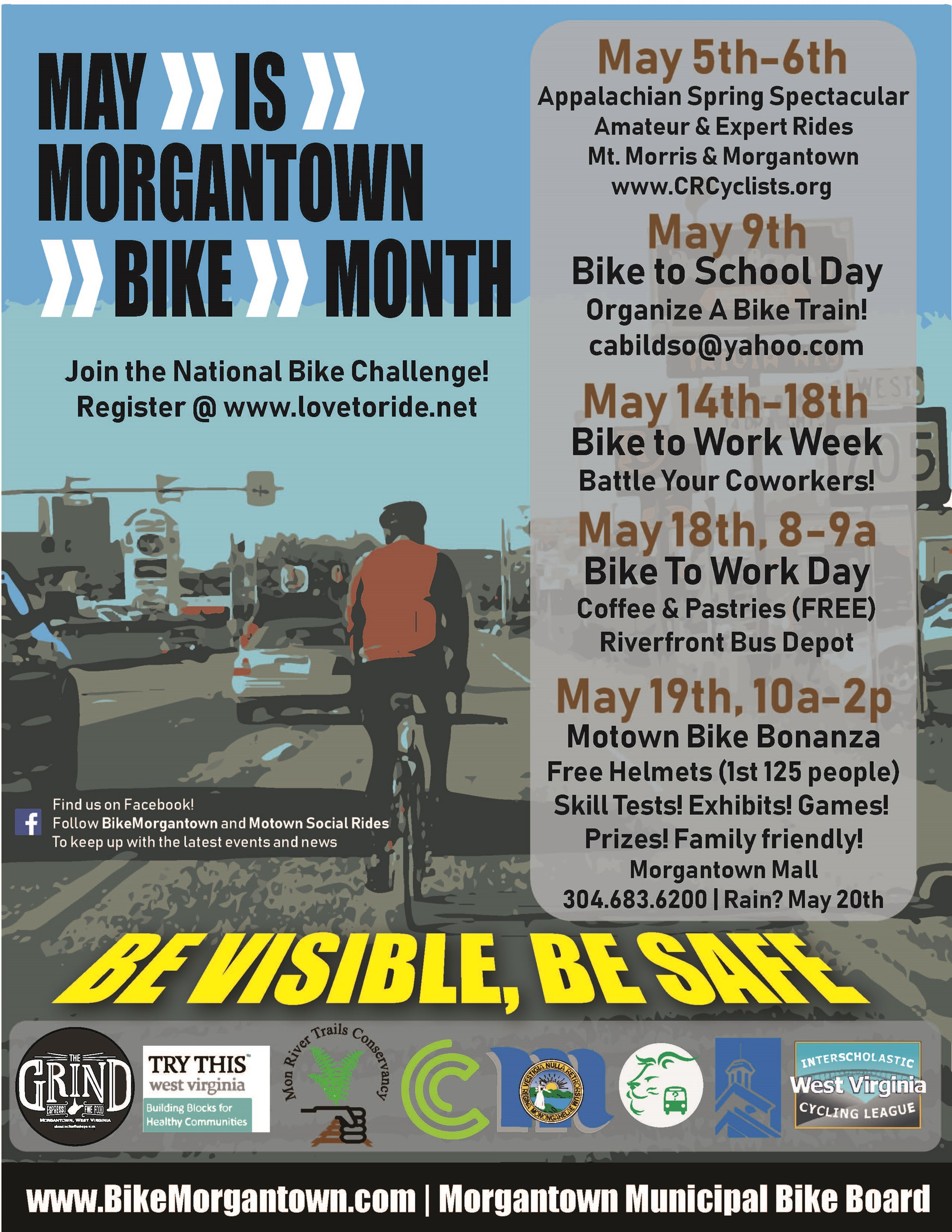A poster showing bike events scheduled for May 2018.