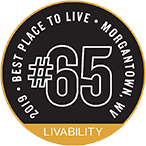 A badge listing Morgantown as one of 2019's top 100 places to live by Livability.