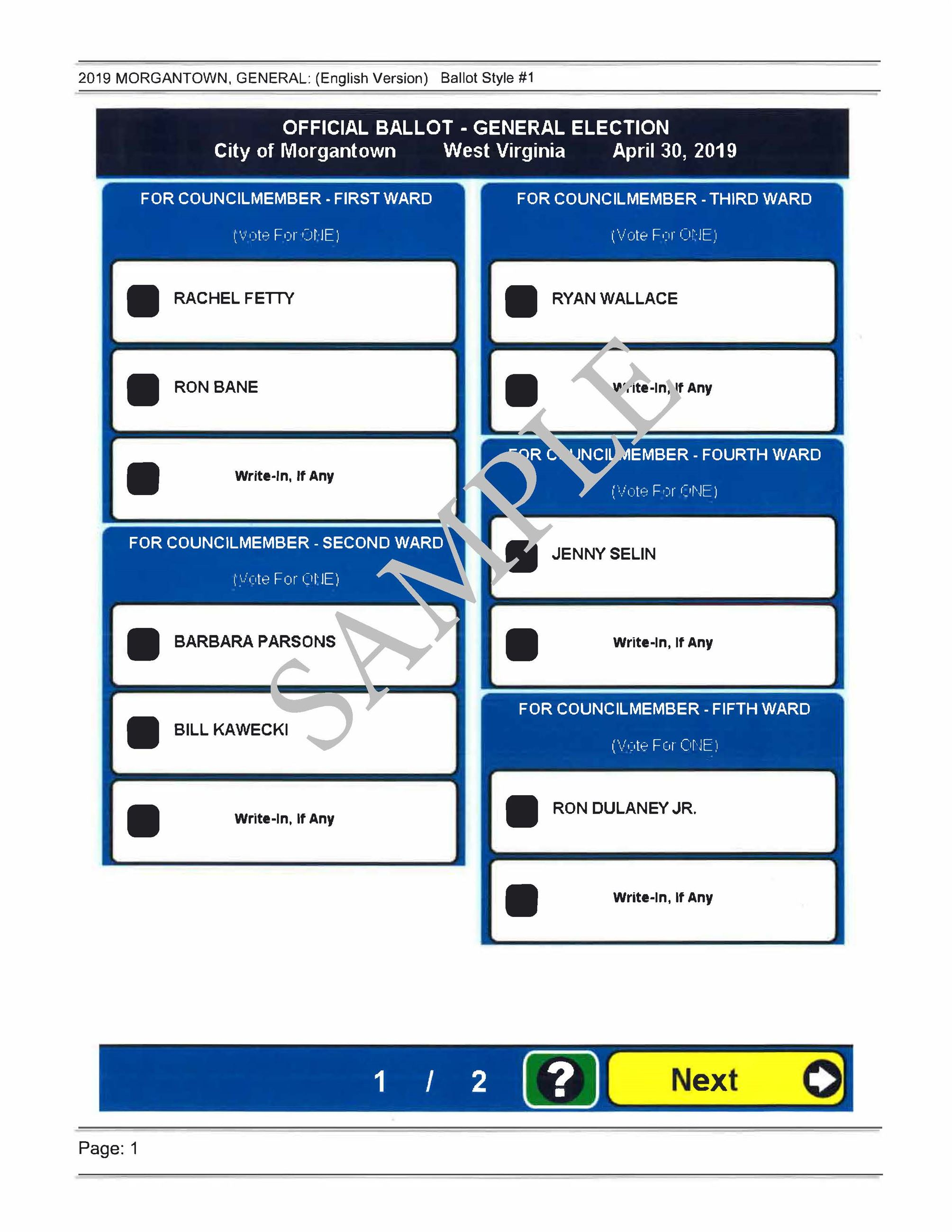 2019 City of Morgantown Municipal Election Sample Ballot Page 1.