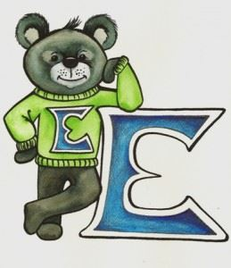 Drawing of a Bear Standing on Two Legs With a Lime Green Sweatshirt With an E on it