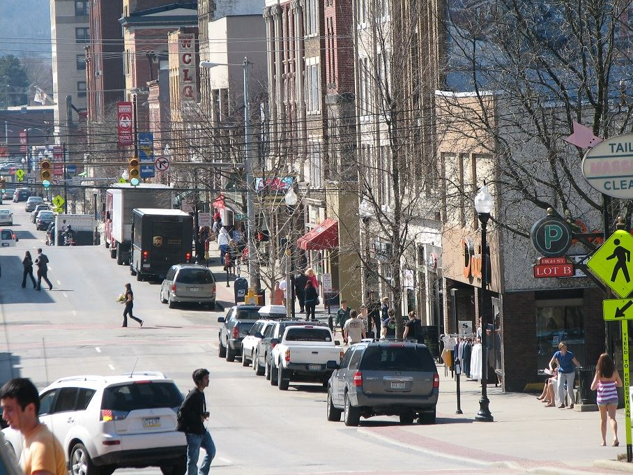 A picture of High Street in downtown Morgantown.
