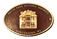 South Park Historic District Morgantown, WV Plaque