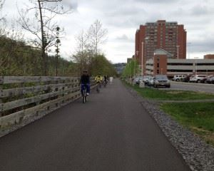 Citizens Out Biking on the Rail Trail