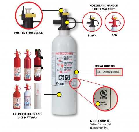A picture of Kidde push-button Pindicator fire extinguishers.