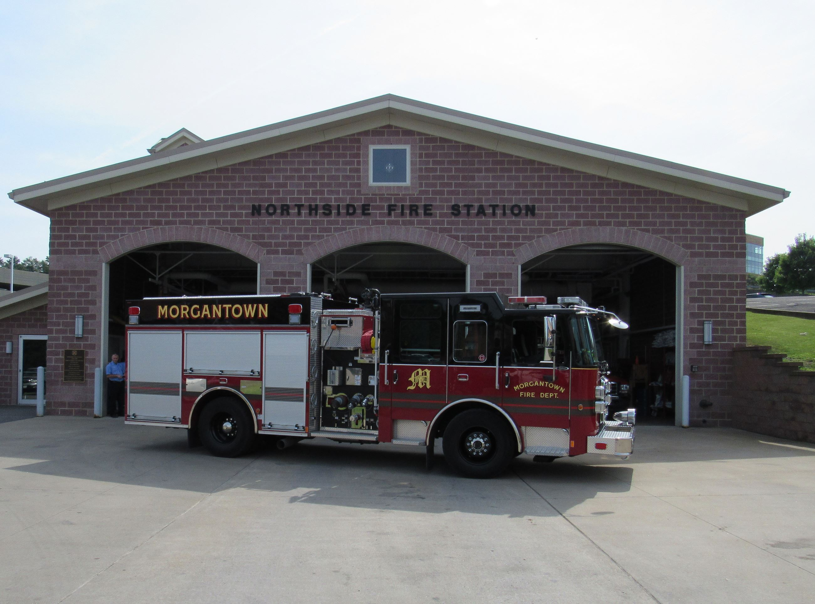 A picture of a firetruck outside of the Northside Fire Station in Morgantown.