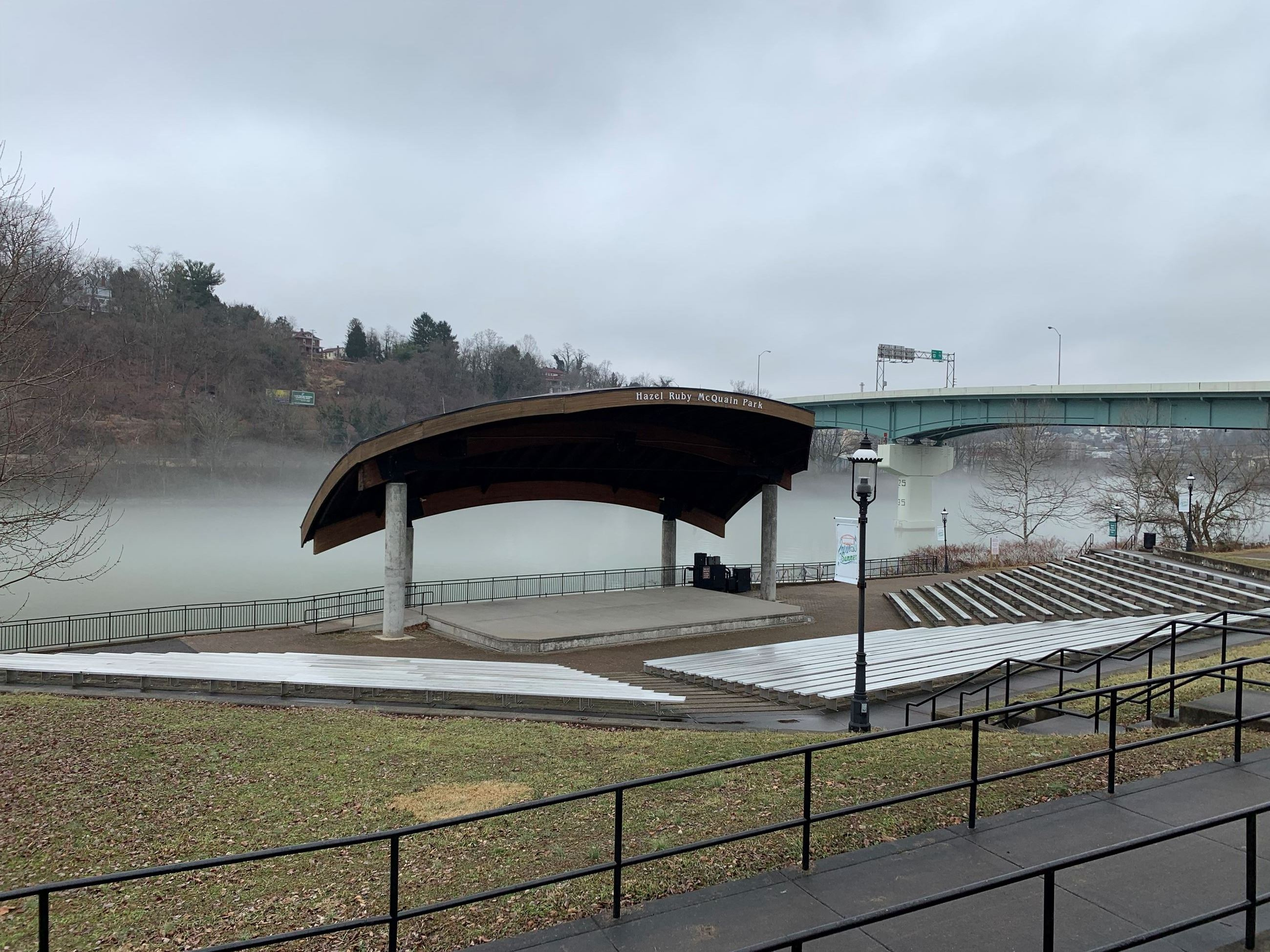 A picture of the Hazel Ruby McQuain Amphitheater and Riverfront Park
