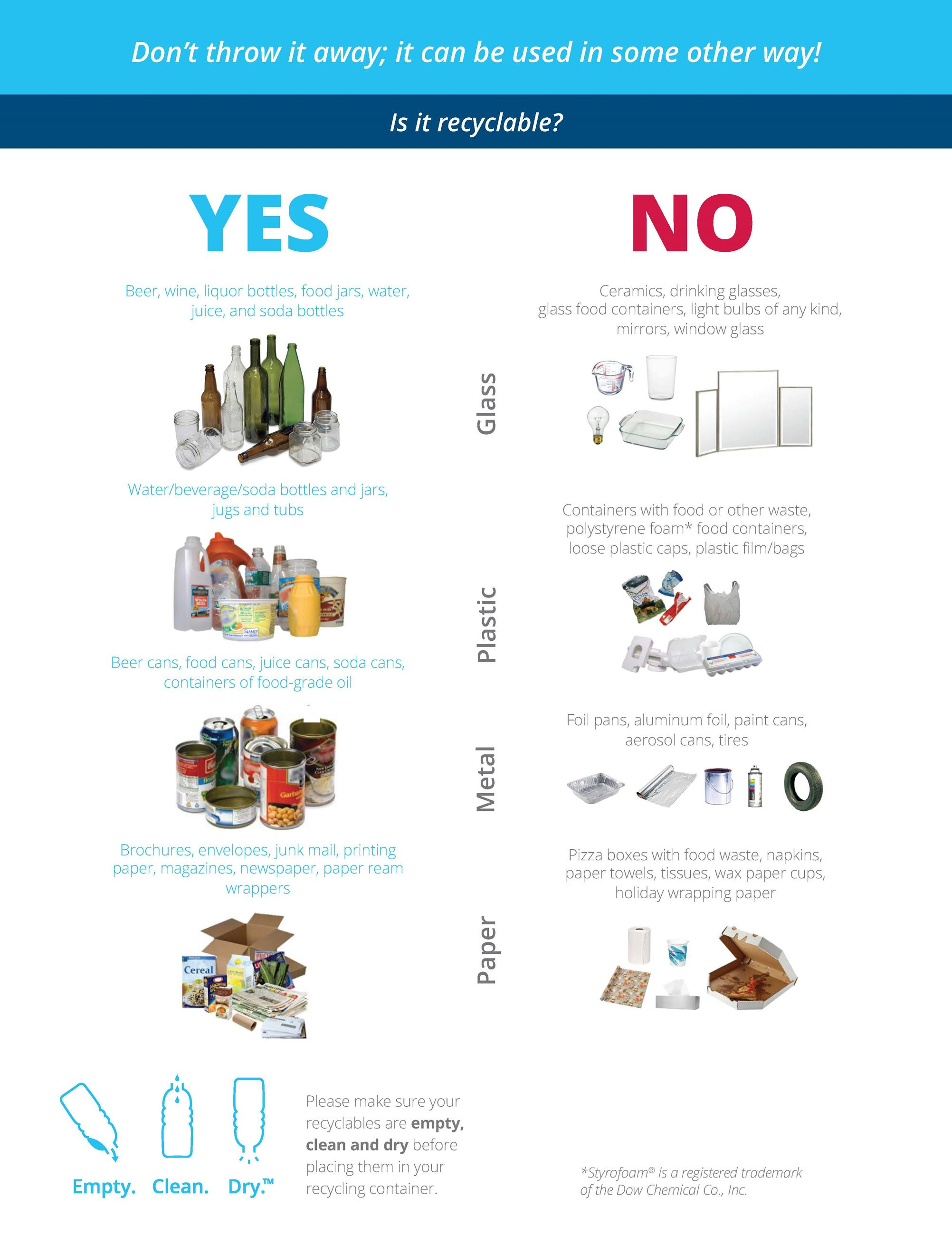 A picture of the cover page of the 2019 List of Acceptable Items for Recycling.