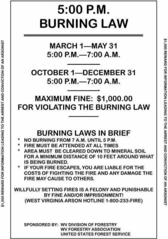 Image containing burning law information.