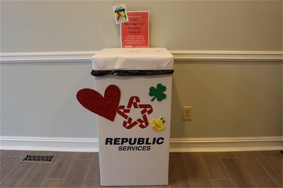 Image of greeting card drop-off box.