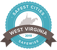 A badge from Safe Wise recognizing Morgantown as one of the 20 safest cities in West Virginia for 20