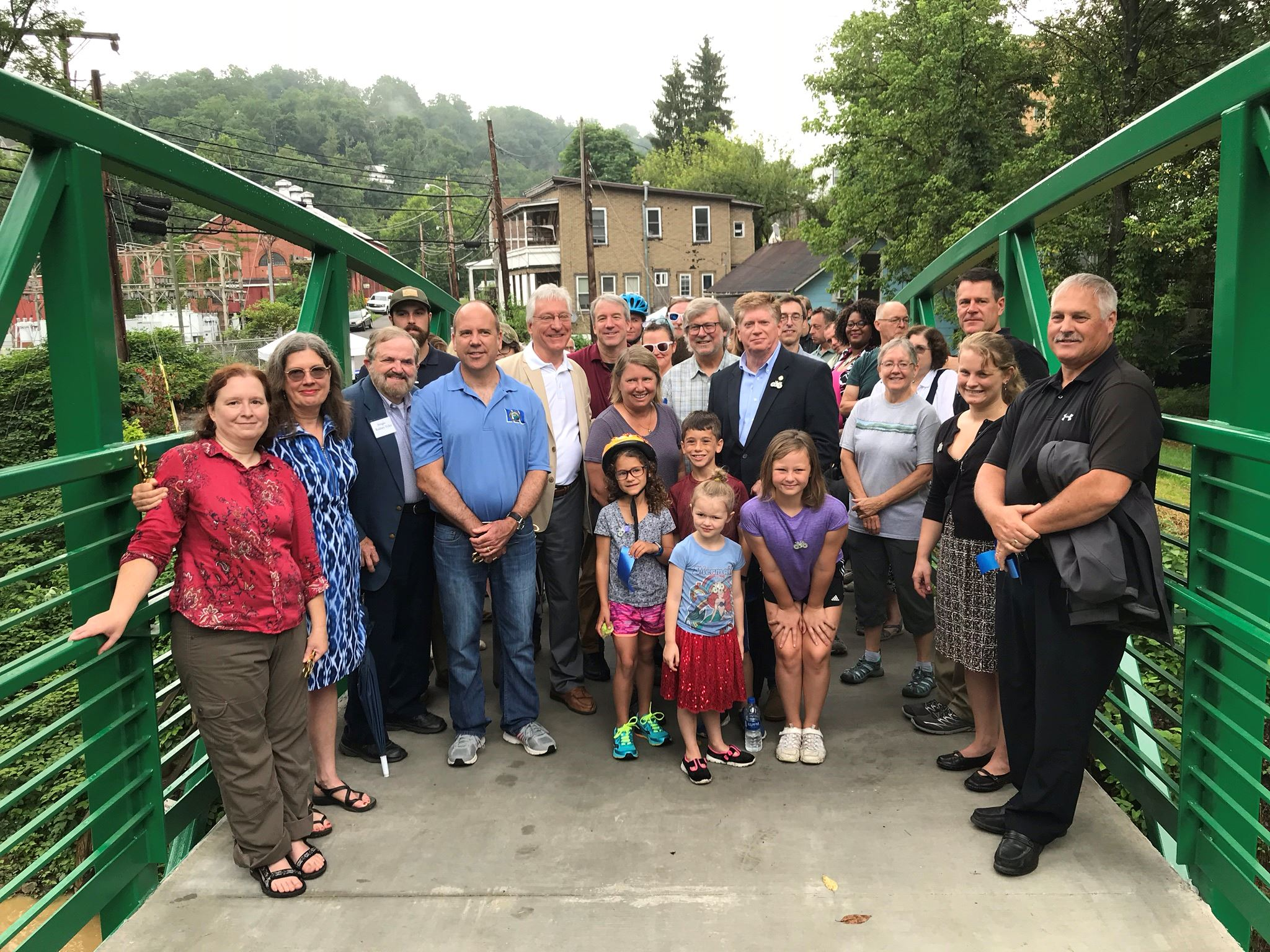 A group picture of people that attended the opening of the Deckers Creek Pedestrian Bridge.
