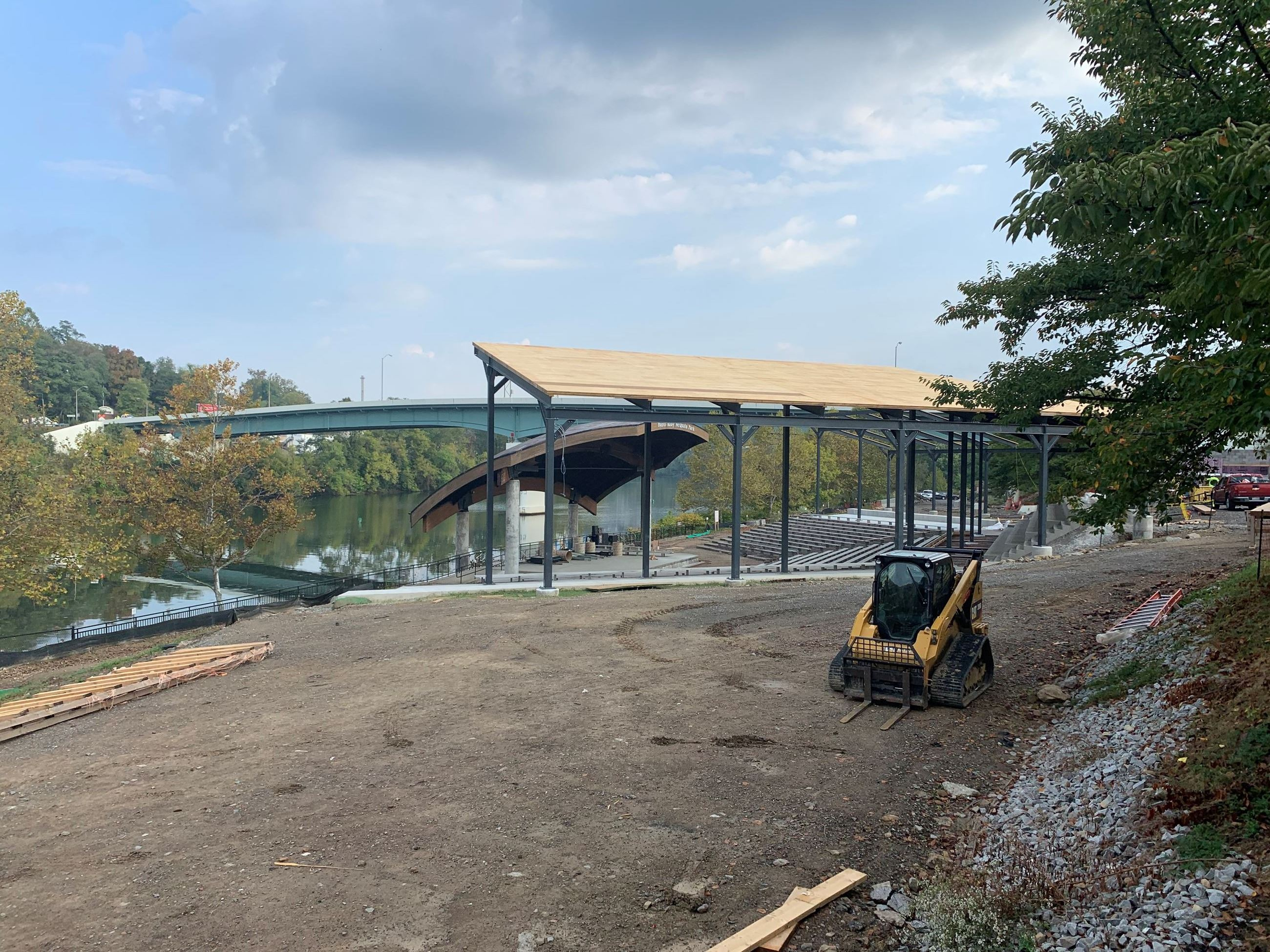 A picture of construction at Hazel Ruby McQuain Riverfront Park.