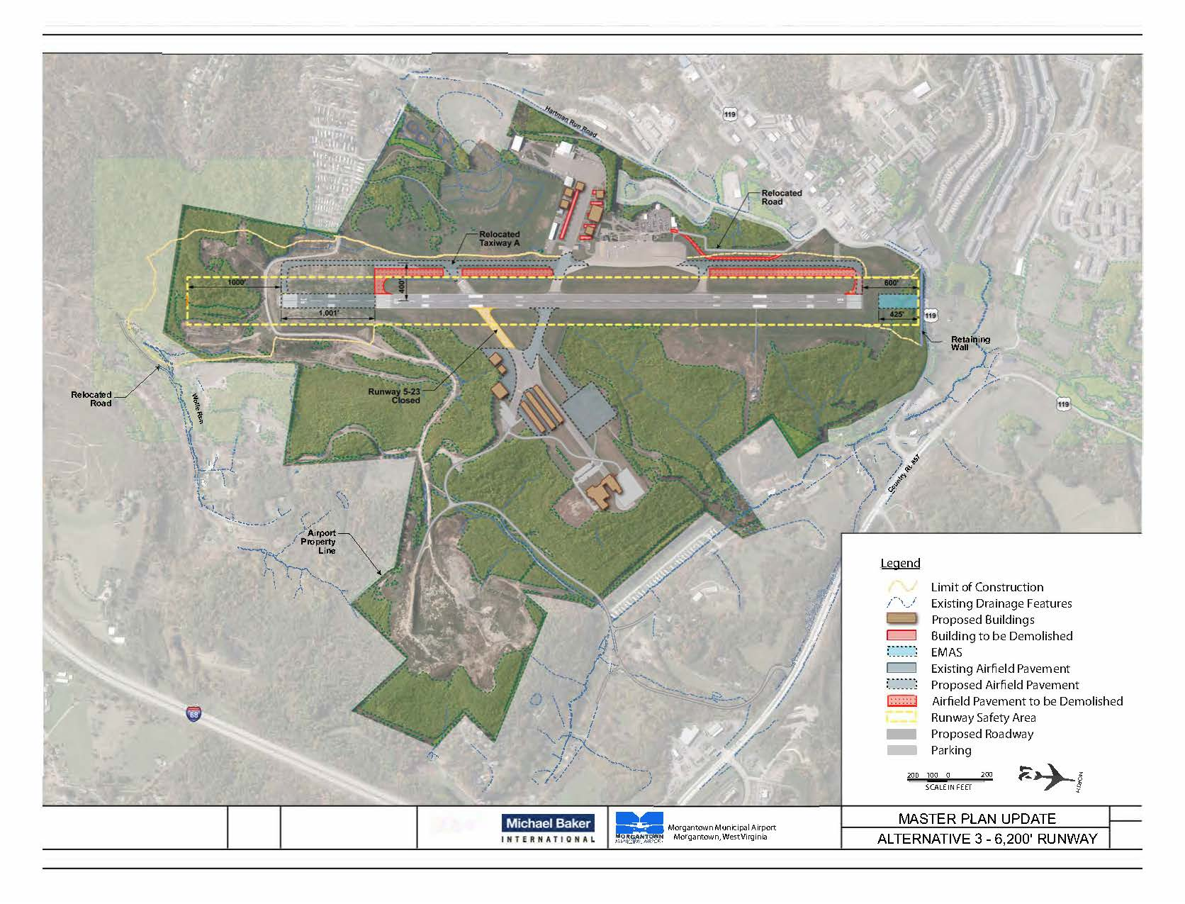 An overview picture of the Runway Extension Project at the Morgantown Municipal Airport.