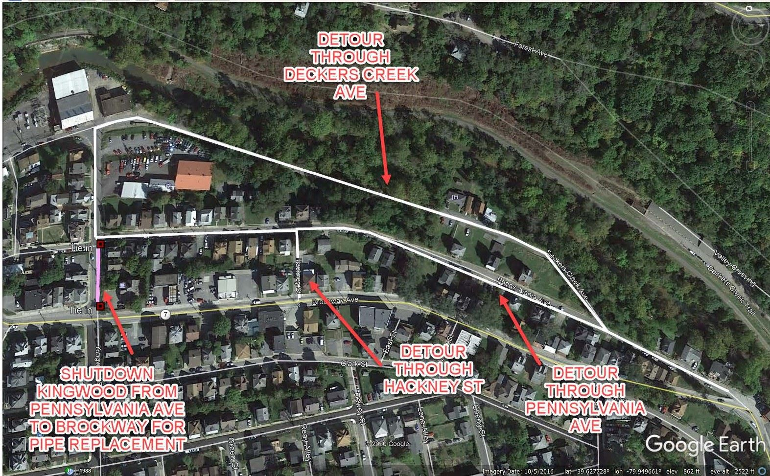 PROPOSED DETOUR FOR KINGWOOD STREET PIPE REPLACEMENT