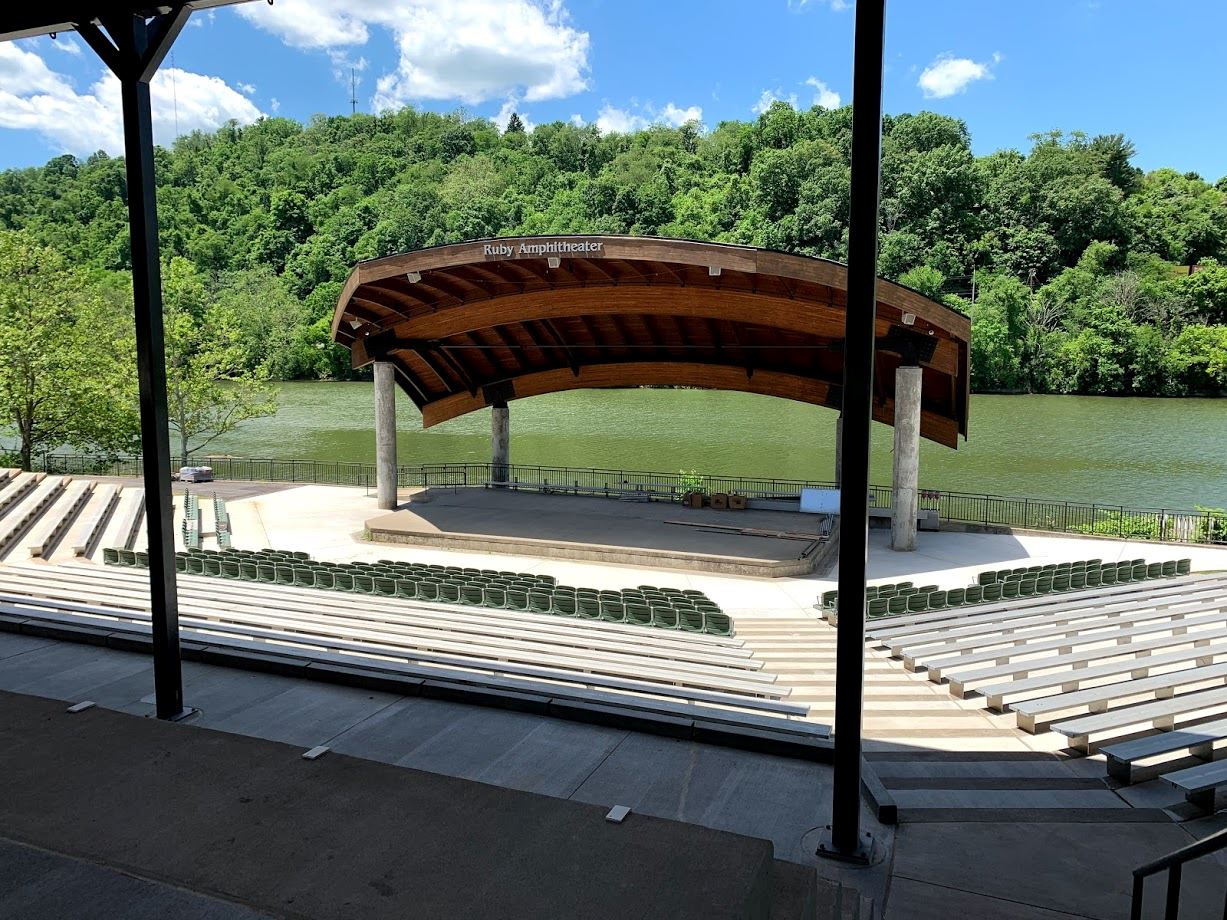 Image of completed Ruby Amphitheater and sunshade.
